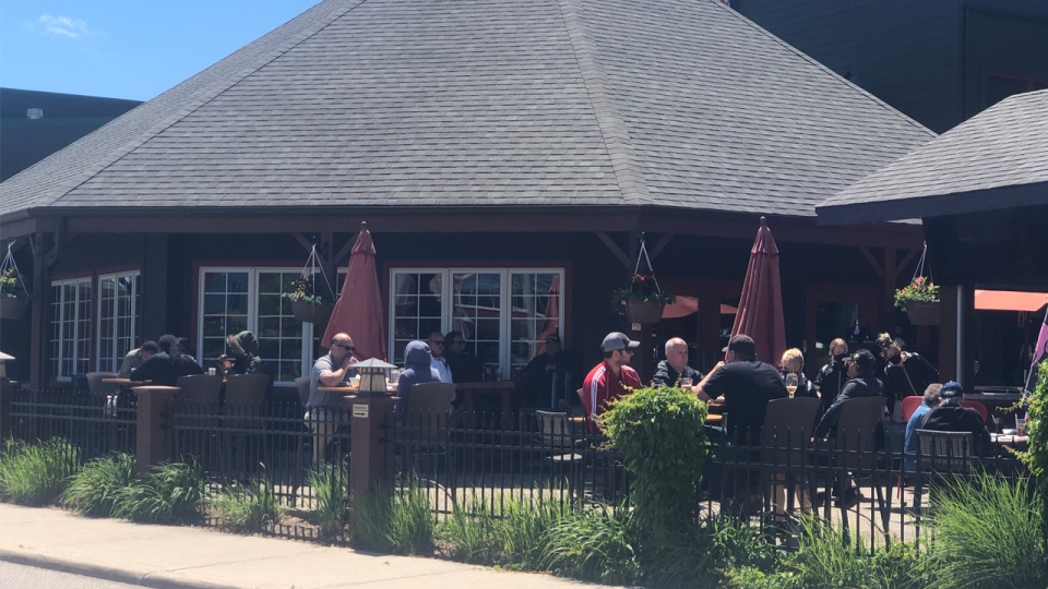 People on a patio