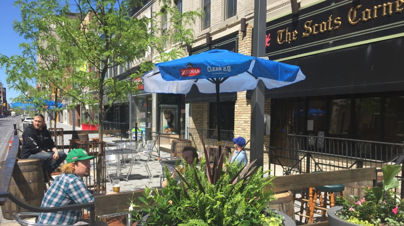 The Scots Corner patio in London Ont. on June 12, 2020. (Bryan Bicknell/CTV London)
