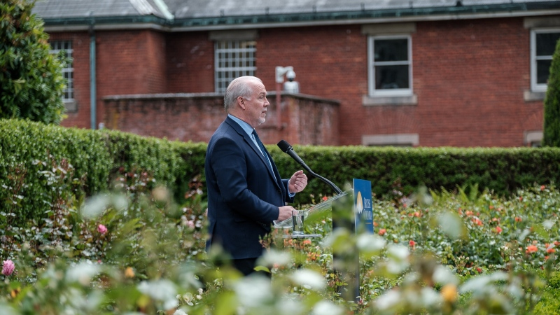 Premier John Horgan provides an update to the media on June 10, 2020: (Province of B.C. / Flickr)