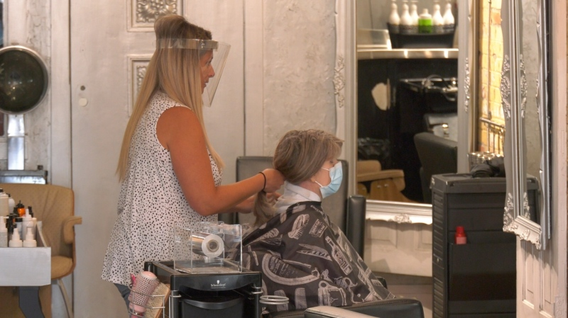 City Lights Hair Design reopens in Chatham, Ont. on Friday, June 12 2020 (Sijia Liu/CTV Windsor)