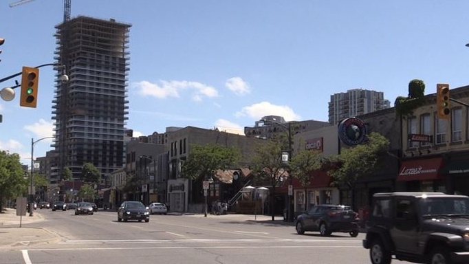 Richmond Row small businesses are seen looking south from Central Avenue on Friday June 12, 2020 (Sean Irvine CTV London)