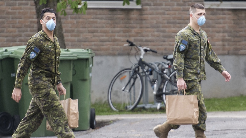 Members of the Canadian Armed Forces are shown at Residence Yvon-Brunet, a long-term care home in Montreal, Saturday, May 16, 2020. THE CANADIAN PRESS/Graham Hughes