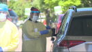 A COVD-19 test is conducted at the drive-thru testing centre in Kitchener. (Edwin Huras - CTV Kitchener) (June 13, 2020)