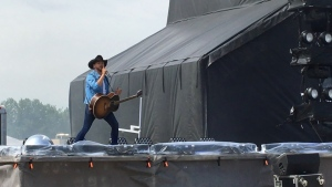 Brett Kissel performs at the River Cree parking lot on June 13, 2020. (Rob Williams/CTV News Edmonton)