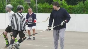 Physically distant ball hockey