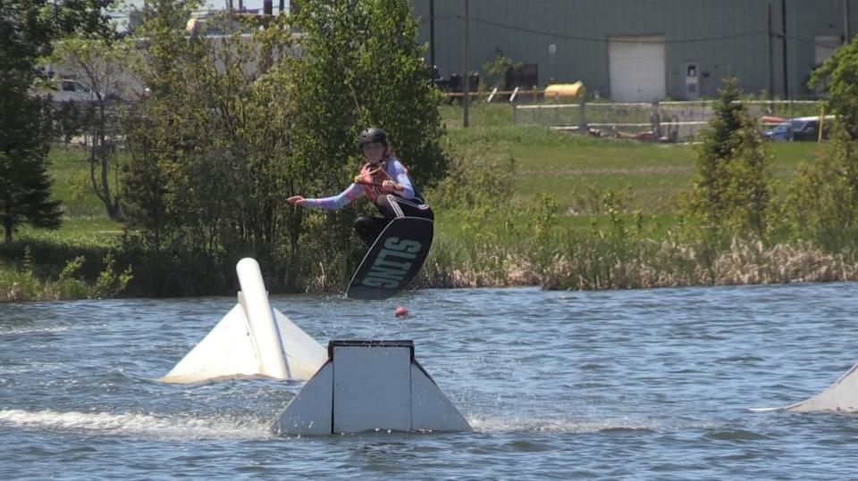 Brooke-Lynn McGinn hits a jump