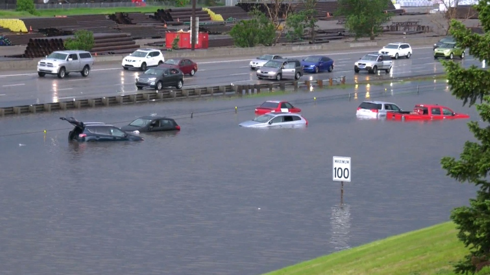 Plenty of drivers were stuck in their swamped vehicles when a section of Deerfoot Trail flooded in the heavy thunderstorm Saturday night.