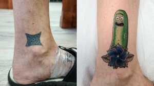 Before and after Ryun King covered up Jennifer Tucker's confederate flag tattoo. (CNN)