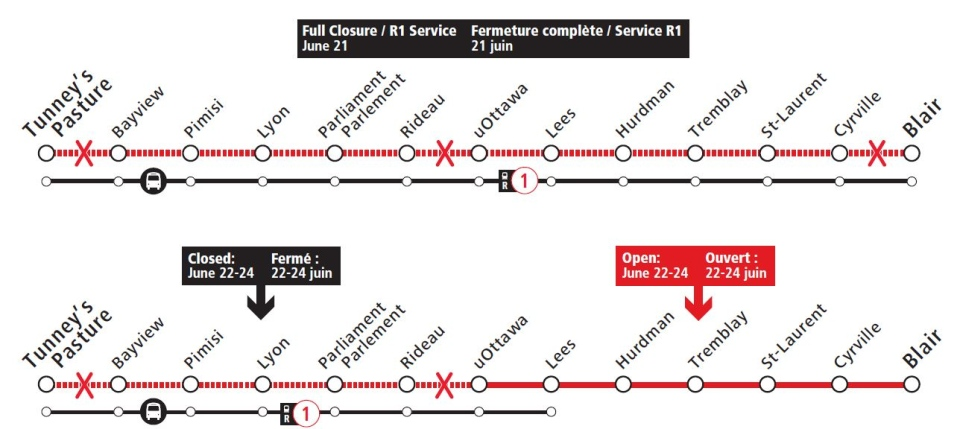 LRT closures June 21 to 24
