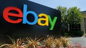 This Tuesday, July 16, 2013, file photo shows signage at eBay headquarters in San Jose, Calif. (AP Photo/Ben Margot, File)