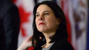 Montreal Mayor Valerie Plante, right, takes part in a press conference following a roundtable discussion with Prime Minister Justin Trudeau at the Federation of Canadian Municipalities' Big City Mayors' Caucus, in Ottawa on January 28, 2019. THE CANADIAN PRESS/Sean Kilpatrick