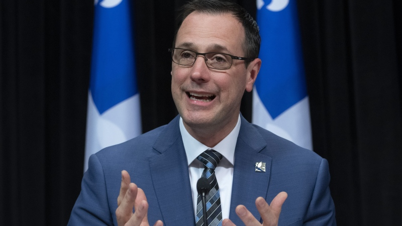 Quebec Education Minister Jean-Francois Roberge speaks at a news conference on the COVID-19 pandemic. (File: THE CANADIAN PRESS/Jacques Boissinot)