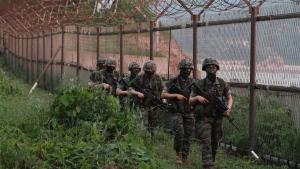 South Korean Marines patrol on Yeonpyeong Island, South Korea, Tuesday, June 16, 2020. (Kim In-chul/Yonhap via AP)