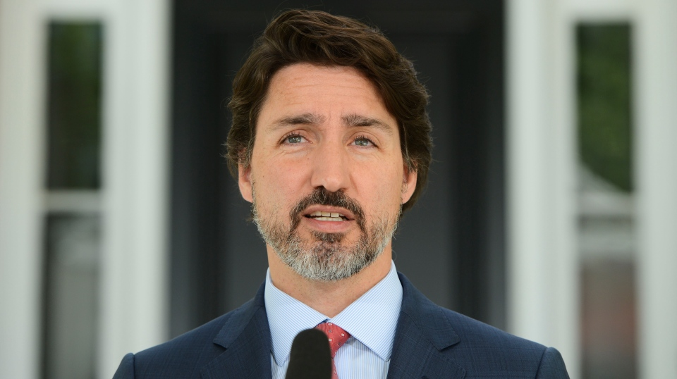 Prime Minister Justin Trudeau sports a fresh haircut as he holds a press conference from Rideau Cottage amid the COVID-19 pandemic in Ottawa on Tuesday, June 16, 2020. THE CANADIAN PRESS/Sean Kilpatrick
