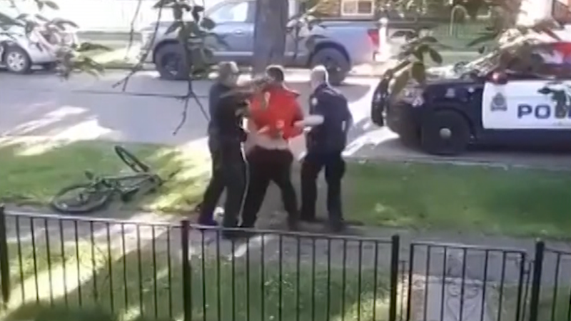 Video captured of the 2019 incident shows Edmonton police violently arresting a man as he cries out for help. (Submitted)