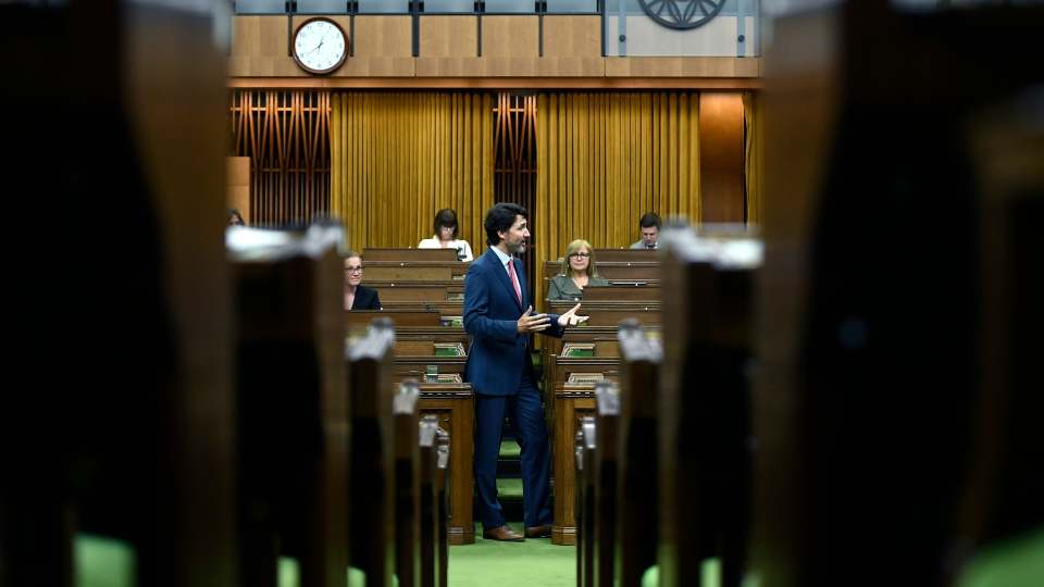 Prime Minister Justin Trudeau rises during a meeting of the Special Committee on the COVID-19 Pandemic in the House of Commons on Parliament Hill in Ottawa, on Tuesday, June 16, 2020. (THE CANADIAN PRESS/Justin Tang)