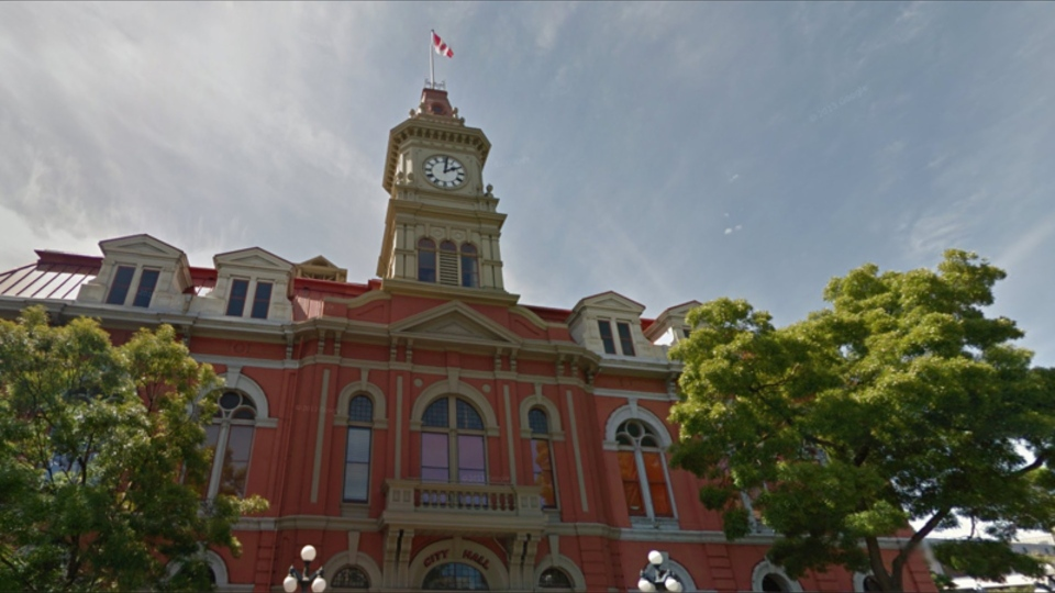 Police say a compressed-air gun was likely used to shoot at a Victoria City Hall window on Wednesday: (Google Maps)