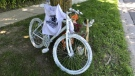 A bicycle painted white is seen at the scene of a deadly hit-and-run crash in Markham, Ont. in June 2020. (CTV News Toronto)