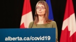 Alberta's chief medical officer of health Dr. Deena Hinshaw provides an update on COVID-19 and the ongoing work to protect public health from Edmonton on Monday, June 15, 2020. (Government of Alberta)