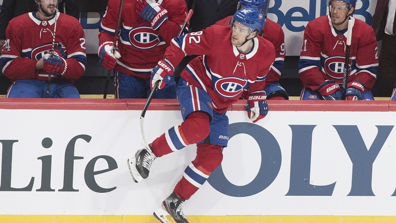 Montreal Canadiens' Jonathan Drouin (92) comes off the bench during first period NHL hockey game action against the Toronto Maple Leafs in Montreal, Saturday, Feb. 8, 2020. THE CANADIAN PRESS/Graham Hughes