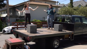 Performers with Victoria's Theatre SKAM host a mobile performance, a new program that was launched in response to the COVID-19 pandemic: (CTV News)