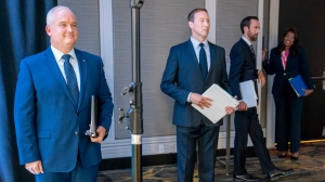 Conservative Party of Canada leadership candidates Erin O'Toole, left to right, Peter MacKay, Derek Sloan and Leslyn Lewis wait for the start of the French Leadership Debate in Toronto on Wednesday, June 17, 2020. THE CANADIAN PRESS/Frank Gunn