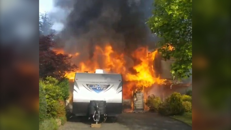 The Campbell River Fire Department posted video of the inferno on its Twitter account. (Campbell River Fire/Twitter)