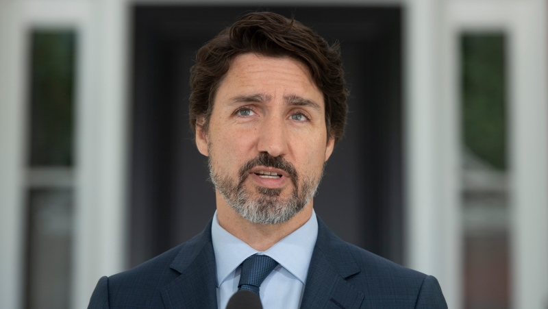 Prime Minister Justin Trudeau speaks during a news conference at Rideau Cottage in Ottawa, Wednesday June 17, 2020. THE CANADIAN PRESS/Adrian Wyld