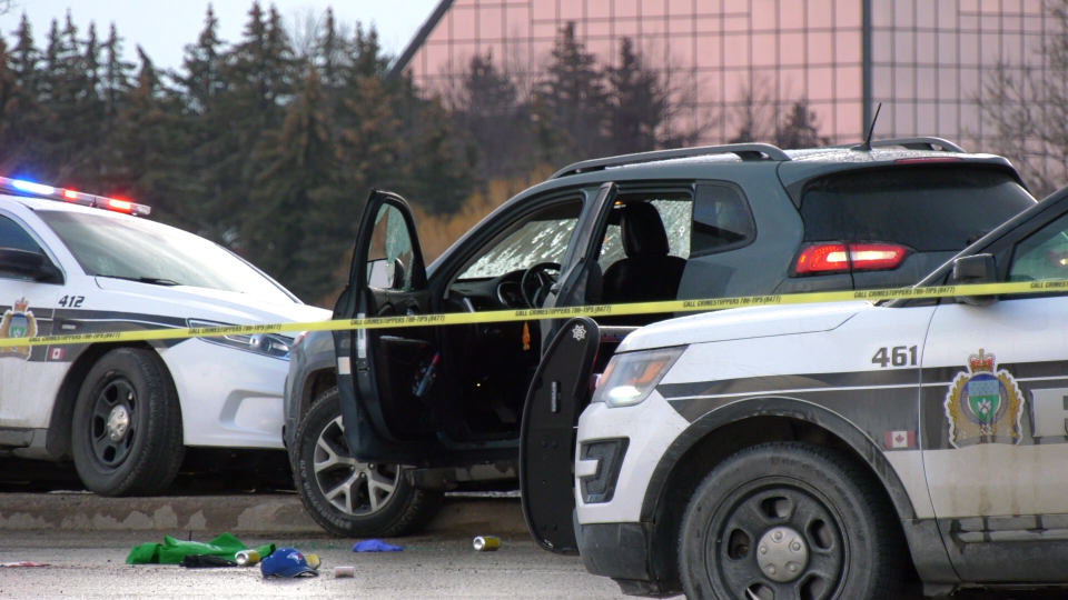 The scene of a deadly police shooting in Winnipeg is pictured on April 8, 2020. (Glenn Pismenny / CTV News Winnipeg)