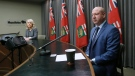 Dr. Brent Roussin, Manitoba chief public health officer, speaks during the province's latest COVID-19 update at the Manitoba legislature in Winnipeg Saturday, March 28, 2020. THE CANADIAN PRESS/John Woods