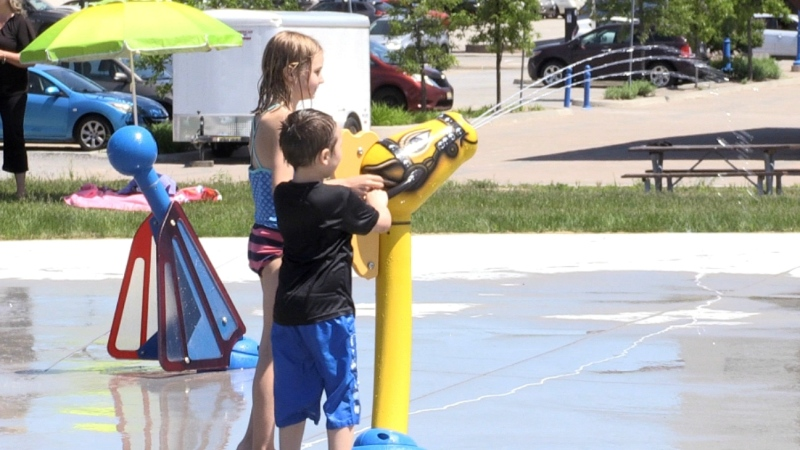 As this blast of hot weather continues and restrictions surrounding the Coronavirus are easing, the city is reopening amenities, including the splashpad and public washrooms. (Eric Taschner/CTV News)