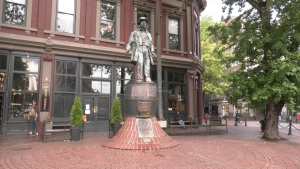 Gassy Jack statue in Gastown after being cleaned by city crews.