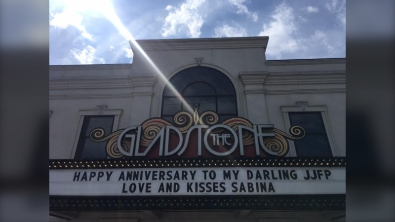 The Gladstone Theatre is charging $1 a letter to write a personalized message on the marquee.