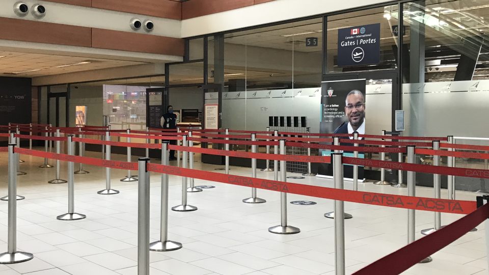 An empty security line at the Ottawa International Airport during the COVID-19 pandemic. (Leah Larocque/CTV News Ottawa)