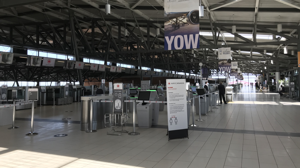 The Ottawa Airport expects over 400 passengers to depart each day over the next couple of days during the COVID-19 pandemic. (Leah Larocque/CTV News Ottawa)