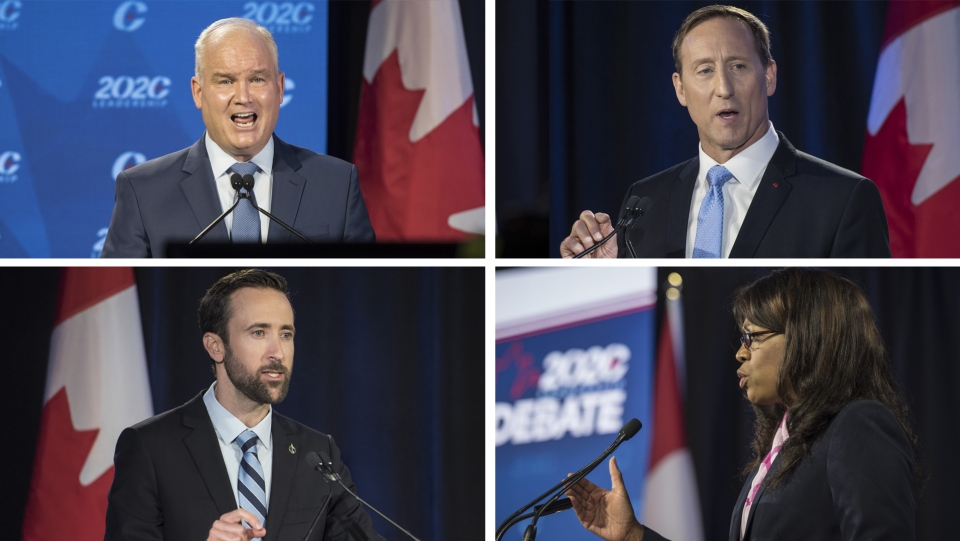 Erin O'Toole, Peter MacKay, Derek Sloan, and Leslyn Lewis take part in the June 18, 2020 Conservative leadership debate. (THE CANADIAN PRESS)