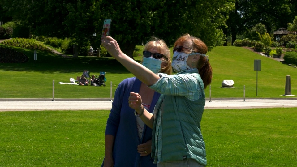 Bellingham resident Jeanette Paige met her sister from North Vancouver at the park on Thursday prior to its closure.