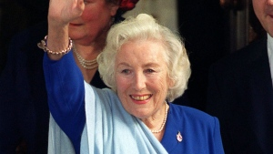 FILE - In this Nov, 2, 1999 file photo, singer Dame Vera Lynn, leaves Mansion House following a lunch held for people judged to be the Best of British. The family of World War II forces sweetheart Vera Lynn says she has died. She was 103 it was reported on Thursday, June 18, 2020. (John Stillwell/PA via AP, File)