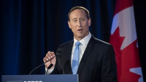Conservative Party of Canada leadership candidate Peter MacKay speaks during the English debate in Toronto on Thursday, June 18, 2020. (THE CANADIAN PRESS/ Tijana Martin)