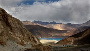 In this Sept. 14, 2017, photo, Pangong Tso lake is seen near the India China border in India's Ladakh area. (AP Photo/Manish Swarup)