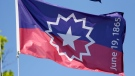 The Juneteenth flag, which commemorates the day that slavery ended in the U.S. (Nati Harnik/AP)