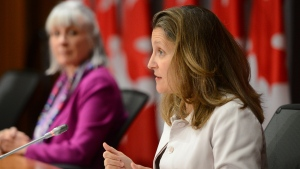 Deputy Prime Minister and Minister of Intergovernmental Affairs Chrystia Freeland holds a press conference on Parliament Hill amid the COVID-19 pandemic in Ottawa on Wednesday, June 17, 2020. THE CANADIAN PRESS/Sean Kilpatrick