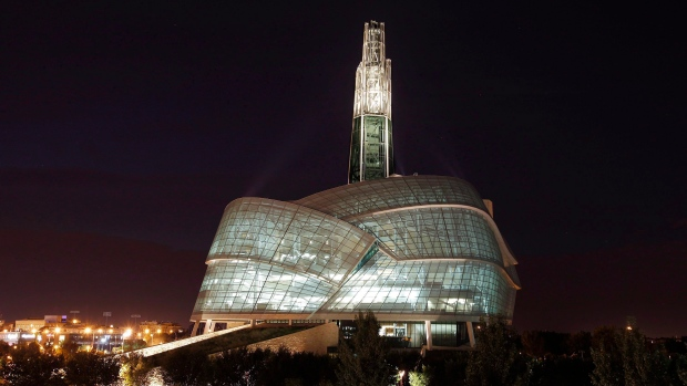 A night view of the Canadian Museum For Human Rights is shown in Winnipeg on Sept. 16, 2014. (THE CANADIAN PRESS/John Woods)