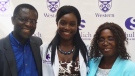 Michelle Quaye celebrates her graduation with her parents. (Celine Zadorsky / CTV News)