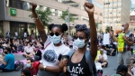 Thousands of people demonstrate during a Black Lives Matter protest in Toronto on Friday, June 19, 2020. THE CANADIAN PRESS/Nathan Denette
