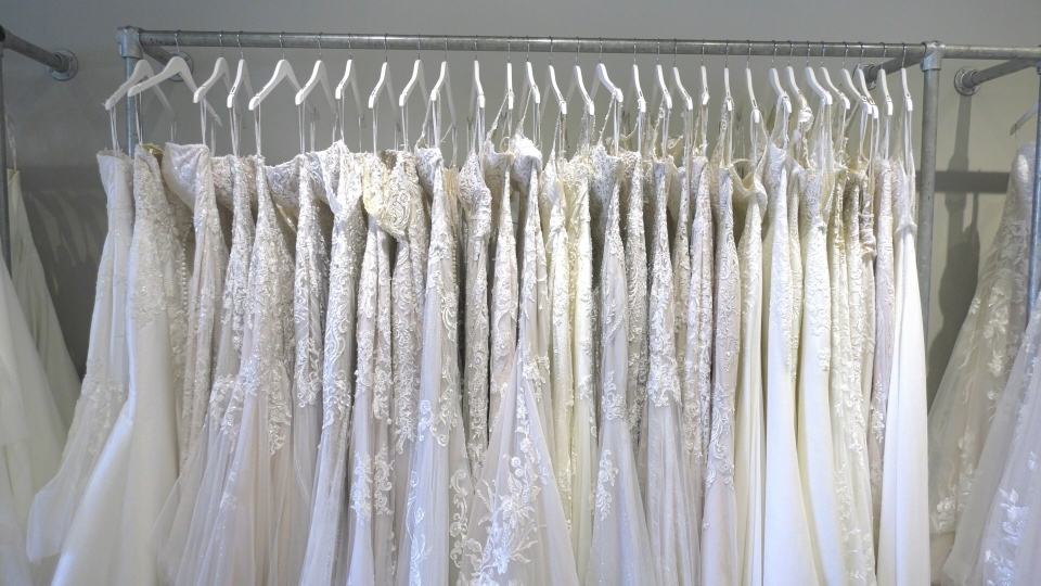 With Love Bridal Boutique in Kanata has implemented measures to protect brides-to-be as they shop for dresses during the pandemic. (Katie Griffin/CTV News Ottawa)