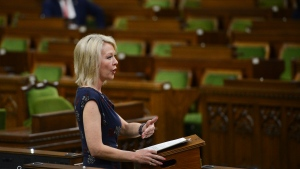 Conservative MP Candice Bergen speaks during a debate in the House of Commons on Parliament Hill amid the COVID-19 pandemic in Ottawa on Monday, May 25, 2020. THE (CANADIAN PRESS/Sean Kilpatrick)