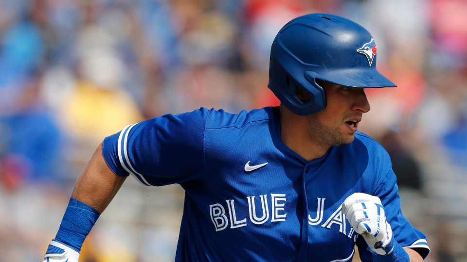 In this March 6, 2020, file photo, Toronto Blue Jays' Joe Panik runs during a spring training baseball game in Dunedin, Fla. (AP Photo/Carlos Osorio, File)