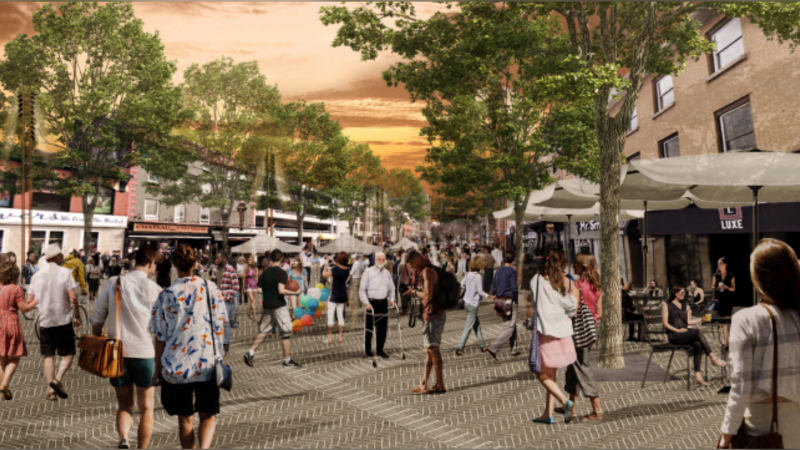 An artist's rendering of the proposed York Street flex plaza between Sussex Dr. and ByWard Market Sq., in which it is closed to vehicles for a special event. (Photo: ByWard Market Public Realm Plan)