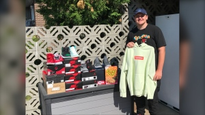 """Brady Howard decided to take his passion for shoes and run-with-it. He's turned it into his new company called 'B-Hyped Kicks & Clothing', finding niche or """"hyped"""" items and delivering them to your door. June 20/2020 (Ian Campbell/CTV News Northern Ontario)"""